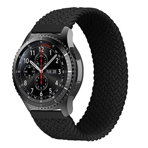 MroTech Kompatibel mit Samsung Gear S3 Frontier/Galaxy Watch3 45mm/Galaxy Watch 46mm Armband 22mm Uhrenarmband Nylon Ersatzarmband für Huawei Watch GT/GT2 46 mm Band Elastic Woven Loop-Kohlenschwarz/M