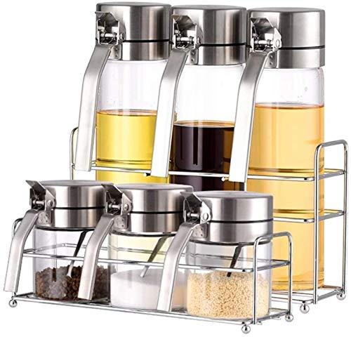 HXF Suministros de cocina salero caja de condimentos botella de condimentos creativa vertical caja de condimentos para ahorrar espacio (color: plata)