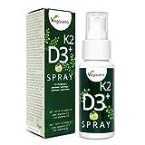 Vitamina D3 + K2 Spray Vegavero® | 100% Vegano | Sabor Manzana | Rápida Absorción | Testado en Laboratorio | 125 Pulverizaciones | Calcio + Huesos* | Colecalciferol + Menaquinona-7 (K2 MK-7)