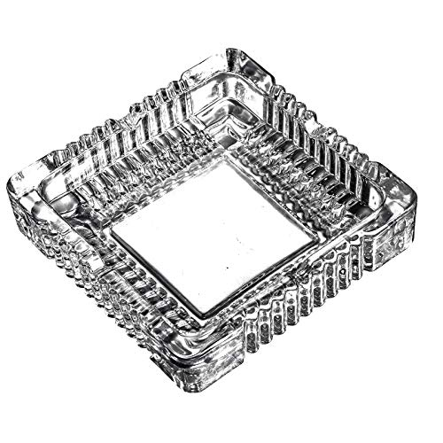 Amlong Crystal Large Classic Square Ashtray 6 inch x 6 inch