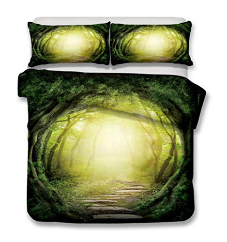 AIKIBELL 3D bedding-digital printing-forest under the sun-bedding set-duvet cover + pillowcase 2-3 bed covers-teenagers-Christmas gift-220×240cm