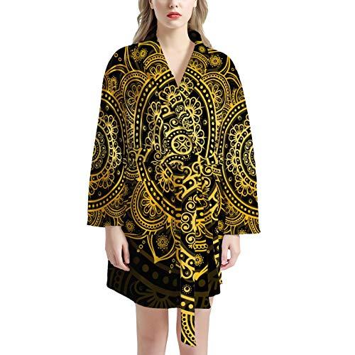 Pijamas de Las señoras, camisón de Mujer Albornoz Suave y cálido S-Cuello de Noche Robas de Dormir Ropa de Dormir con 2 Bolsillos,One Size