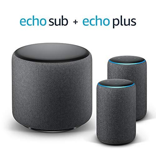 Echo Plus Stereo System – 2 Echo Plus (2ª generazione), Tessuto antracite...