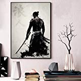 yhyxll Poster Und Drucke Gepanzerte Samurai Japan Anime Kunstwerk Gemälde Kunst Mode Leinwand Wandbilder Für Wohnzimmer Wohnkultur E 50x75 cm