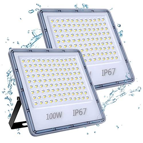 100W Focos LED Exterior 2 Paquetes, YIQIBRO 10000LM 6500K Blanco Frío Superbrillante Foco LED, IP67 Impermeable Luces LED Exterior, Aplique Pared Exterior para Patio Trasero, Garaje, Pasillo, Jardín
