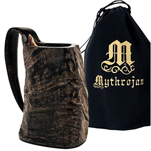 Mythrojan Viking Buffalo Horn Mug Tankard for Beer , Mead