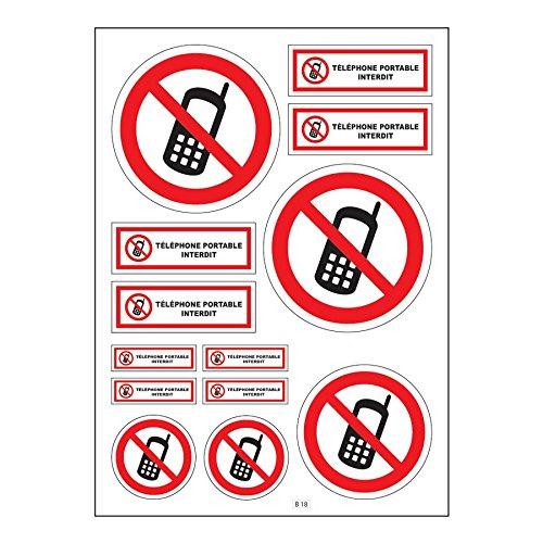 Mygoodprice Brett A4Aufkleber-Handy verboten selbstklebend–B18Autobatterie