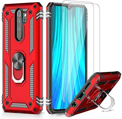 LeYi Funda Xiaomi Redmi Note 8 Pro con [2-Unidades] Cristal Vidrio Templado,Armor Carcasa con 360 Grados Anillo iman Soporte Hard PC y Silicona TPU Bumper Antigolpes Case para Movil Note 8 Pro,Rojo