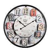Tosbess 50CM Relojes de Pared Silencioso Grandes Originales de Metal Estilo Vintage para el hogar/la Cocina/la Oficina/la Escuela (Negro)