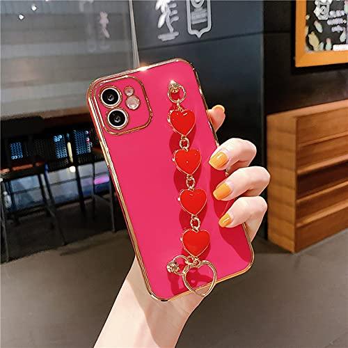 Estuche con Correa de Mano de Pulsera de corazón electrochapado en Oro de Lujo para iPhone 12 11 Pro XS MAX XR X 7 8 Plus SE2020 12 Funda, Camellia Red, para iPhone 12Pro MAX