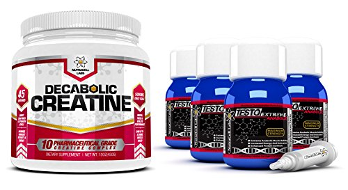 Testo Extreme Anabolic (4 Month Supply) + Free 10 Blend Decabolic Creatine - Testosterone, Muscle Growth & Strength Stack