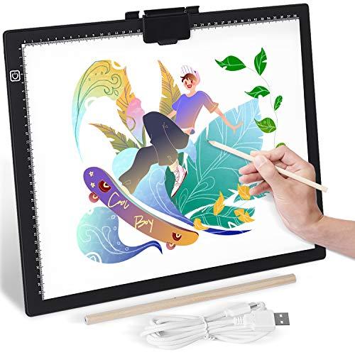 GIANTARM Mesa de Luz para Calcar A3,Tablero de dibujo LED Pantalla táctil inteligente y 6 modos de iluminación, utilizado para artistas animación Tatoo Draw