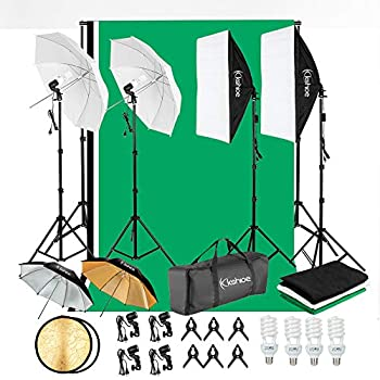 Kshioe 800W 5500K Umbrellas Softbox Continuous Lighting Kit with Backdrop Support System for Photo Studio Product Portrait and Video Shoot Photography
