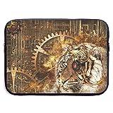 Tiger Head Steampunk 3D Animal Background Gear Bolsas para Laptop 15 ″ Netbook Tablet, Maletín con Funda para el Bolso Funda con Funda