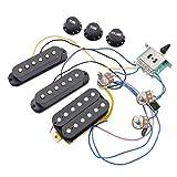 PQZATX STエレクトリックギターピックアップ、配線済みハーネス、5ウェイスイッチ2T1Vコントロール、SSHピックアップ、ブラック
