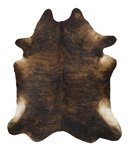 Crown Home Innovations 7'ft x 6 ft Brindle Cowhide Rug | Cowhide Area Rugs 100% Natural Leather Rugs (XL)