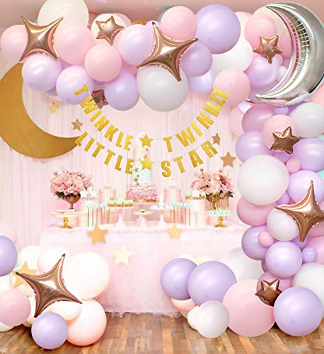 Kreatwow Twinkle Baby Shower, Birthday Decorations for Girl - White and Pink Moon & Star Balloon Garland, Gold Twinkle Little Star Banner