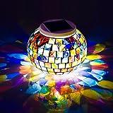 Solar Powered luces Bola de cristal en mosaico de jardín, Avril Tian cambia de color solar luces de noche, impermeable batería solar mesa luces lámpara para decoración de interior o al aire libre