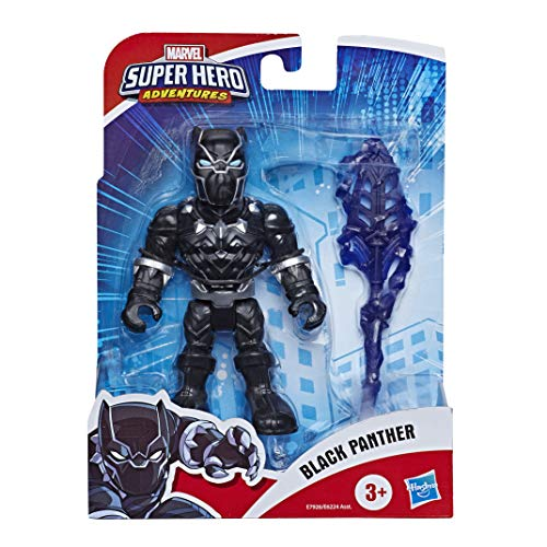 Marvel Super Hero Adventures - Black Panther (Playskool Heroes , Action Figure da Collezione da 12,5 cm con Accessorio Lancia)