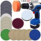POLIWELL Car Headlight Restoration Kit for Fog Headlamp Polishing Cleaning of Electric Drill, 3' Scouring Pads, High-Precision Waterproof Sanding Discs, Polish Sponge, Total 19 PCS