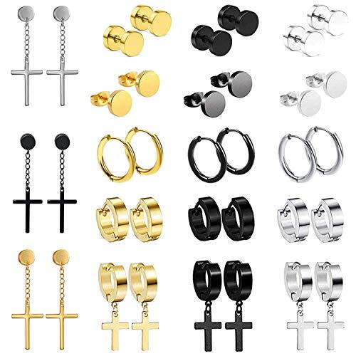 Oidea Juego de 18 pares de pendientes redondos para mujer y hombre, con forma de cruz falsa de acero inoxidable, regalo perfecto de color plateado, negro, oro rosa