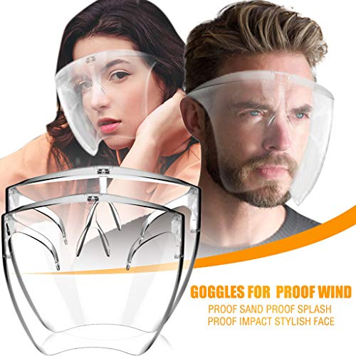 Visors_Face_Shield Glasses Face_Visors US Reusable Washable Full Face Protection with Glasses, Clear and Anti-Fog Safety Goggle_Face_Cover_Masks for Man and WomenClear A:2PCS