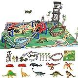 Figura de juguetes de dinosaurio 25 piezas   Juego de tren de carreras realista para niños, juego de dinosaurio jurásico, juguete educativo para niñas y niños