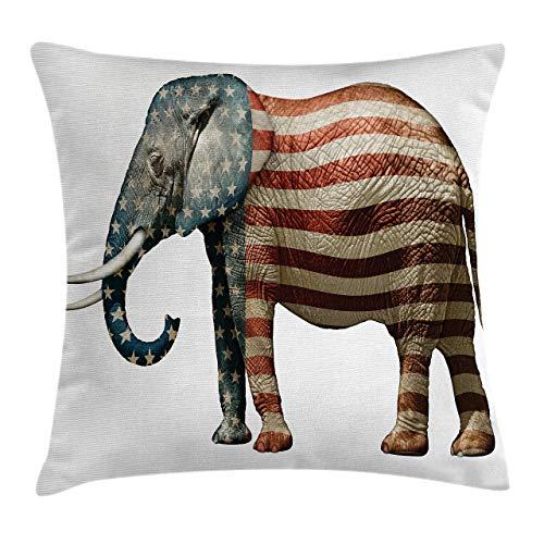 Funda de Cojine Funda de cojín de almohada americana, elefante pintado con estampado de bandera de EE. UU. Throw Cojín 45 X 45CM
