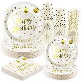 Rorchio - Set di 24 inviti usa e getta, per compleanno, bicchieri e piatti di carta dorati, cannucce di carta e tovaglioli per decorazione Happy Birthday Ragazza