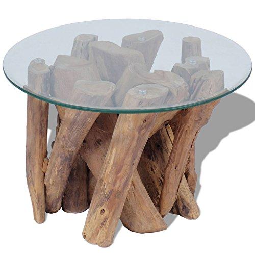 Festnight Couchtisch Kaffeetisch Coffeetisch mit Tischfu? aus Massives Teak Ideal als Beistelltisch Glas Tischplatte Durchmesser 60cm