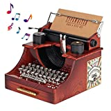 YUSDP Caja de música de máquina de Escribir Vintage - Mini decoración Caja de música de Reloj de máquina de Escribir Antigua Decoración de Mesa de Regalo Adecuada para cumpleaños, Navidad