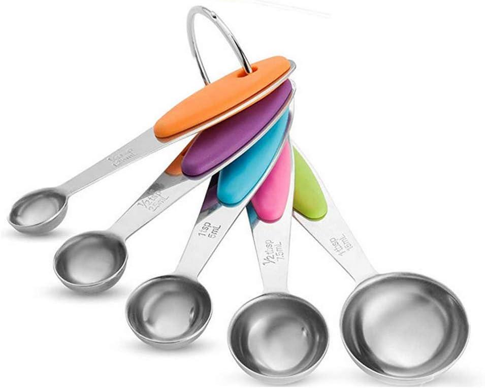 herramientas de medici/ón para hornear ingredientes secos y l/íquidos cucharas medidoras cucharas de horno de acero inoxidable con mango de silicona EDELIN Cucharas medidoras