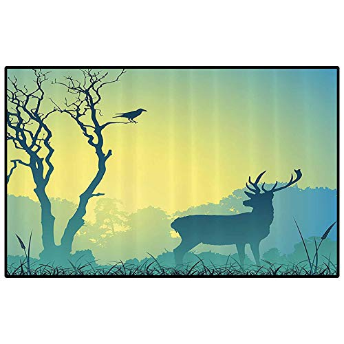 Antlers Decor Collection Christmas Bathroom Rugs Patio Rugs Wild Animal Deerfield Meadow Grassland Tree Morning Time Park Landscape Image Patten Kids Playing Mat for Bedroom Living Room Olive White