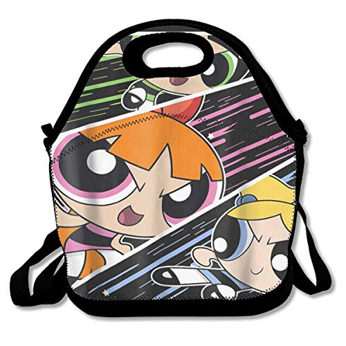 Yangyingb Lunch Tote Powerpuff Girls Waterproof Reusable Lunch Bags for Men Women Adults Kids Toddler Nurses with Adjustable Shoulder Strap - Best Travel Bag
