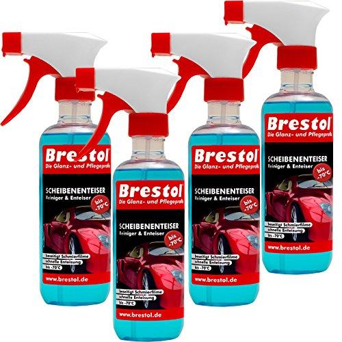 Brestol Scheibenenteiser 4X 300 ml - bis -70 °C Antifrost Anti-Frost Klarsicht Enteiser Scheibenenteiser Türschlossenteinteiser Klare Sicht Konzentrat