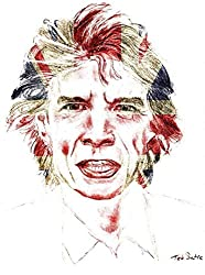 Mick Jagger of the Rolling Stones with UK Flag Print on Canvas by Teo Satre
