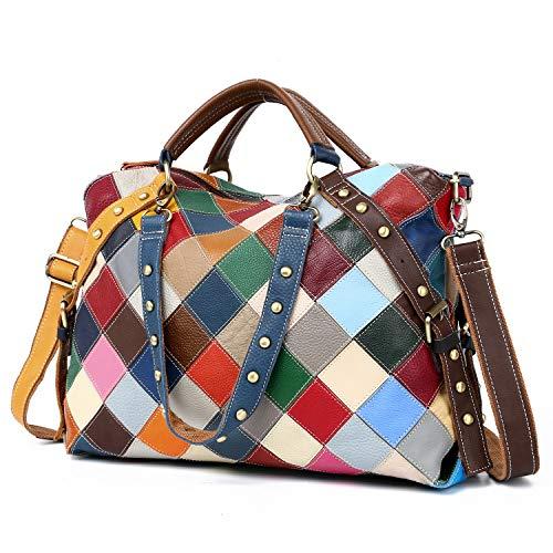 Eysee Borsa in vera pelle donne Borsa a tracolla borsetta Borsa colorata borsa multicolore