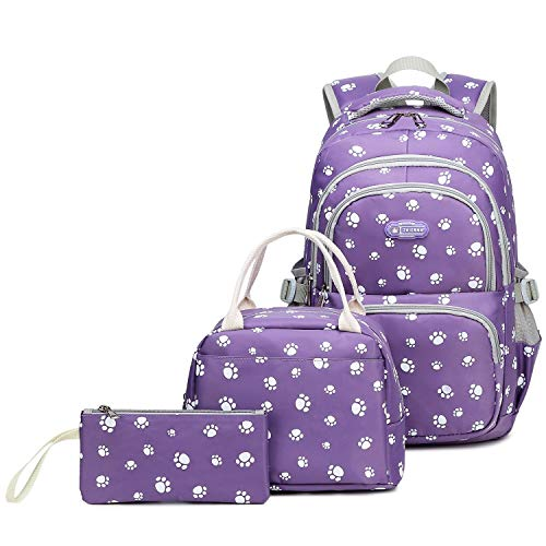 Goldwheat Girls School Backpacks Kids Bookbag Set for Elementary Middle School Bags with Lunch Box Pencil Case,Purple