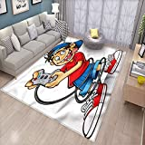 Gamer - Alfombrilla decorativa para el piso, diseño de ojos locos de dibujos animados