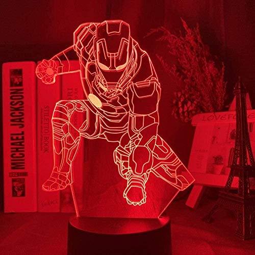 YOUPING - Lámpara 3D Iron Man Armor figura LED nocturna para niños dormitorio decoración Superhero Night Light Cool regalo de Navidad para niños -Mw19_16 colores con mando a distancia