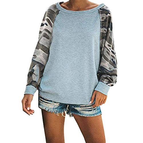 Frauen-Herbstpullover Camouflage-Patchwork-Pullover Fashion Loses lässiges Top Tarnmuster Bedrucktes Langarm-Sweatshirt gedruckte beiläufige Lange Hülsen-runder Ansatz-Sweatshirt-Blusen-Oberseiten