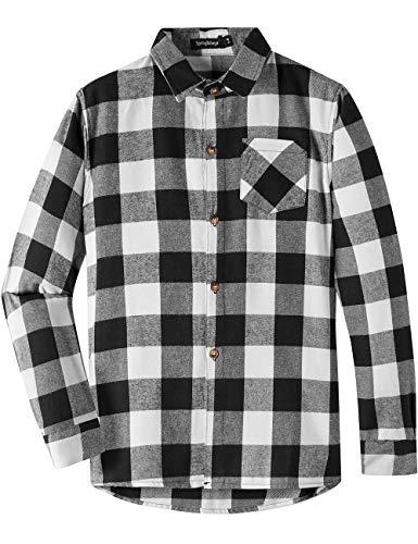 Spring&Gege Jungen Casual Langarm Kariertes Flanell Button-Down-Shirt für Kinder Schwarz-Weiss 140 146