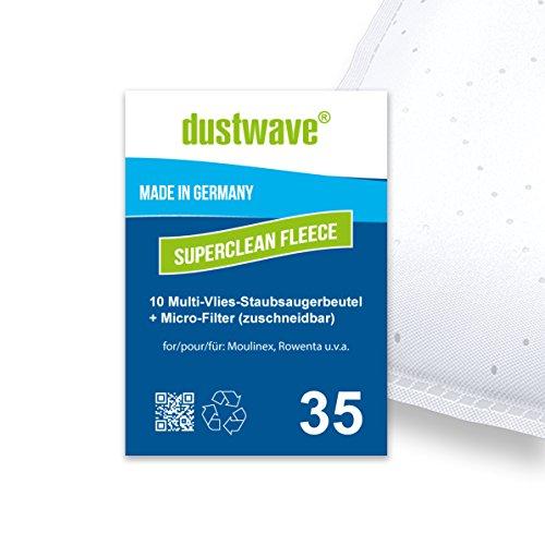 Pack de ahorro–10bolsas de filtro para Rowenta–ro 4631/ro4631SF Compact Aspiradora–dustwave® Marca Bolsa para el polvo/Fabricado en Alemania + Incluye Micro filtro