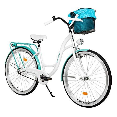 Milord. 26 Zoll 3-Gang Weiß Aquablau Komfort Fahrrad mit Korb Hollandrad Damenfahrrad Citybike Cityrad Retro Vintage