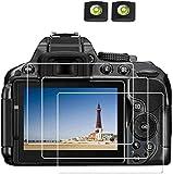 D5300 Protector de pantalla para Nikon D5300 D5600 D5500 DSLR y funda para zapata caliente, BTER 0,3 mm 9H de dureza de vidrio templado antiarañazos antihuellas antiburbujas y antiagua-2+3 unidades