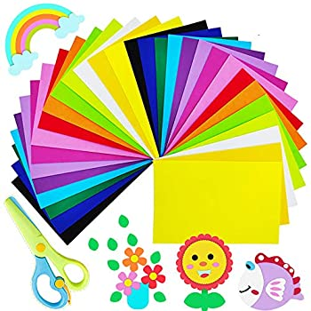 30 Pcs Colorful EVA Foam Sheets,Assorted Craft Foam Sheets,Rainbow Colors Foam Handicraft Sheets with 1 pcs Child Safety Scissors for Classroom Party Kids Art & DIY Crafts Projects