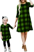 Chuanqi Mommy and Me Dresses Casual Plaid 3/4 Sleeve A Line Family Matching Midi Dress