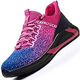 Ucayali Zapatos de Seguridad Mujer Trabajo Verano Zapatillas Trabajar Comodos Ligeros Transpirables Calzado de Seguridad Deportivo Punta de Acero(017 Rosa, 39 EU)