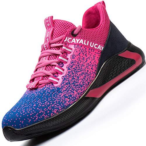 Ucayali Zapatos de Seguridad Mujer Trabajo Verano Zapatillas Trabajar Comodos Ligeros Transpirables Calzado de Seguridad Deportivo Punta de Acero(017 Rosa, 41 EU)