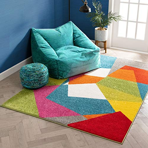 """Art Deco Geos Multi Cubes Yellow Orange Blue Modern Abstract Shapes Colorful 8x10 ( 7'10"""" x 9'10"""" ) Area Rug Easy Clean Stain Fade Resistant Contemporary Art Boxes Square Geometric Thick Soft Plush"""